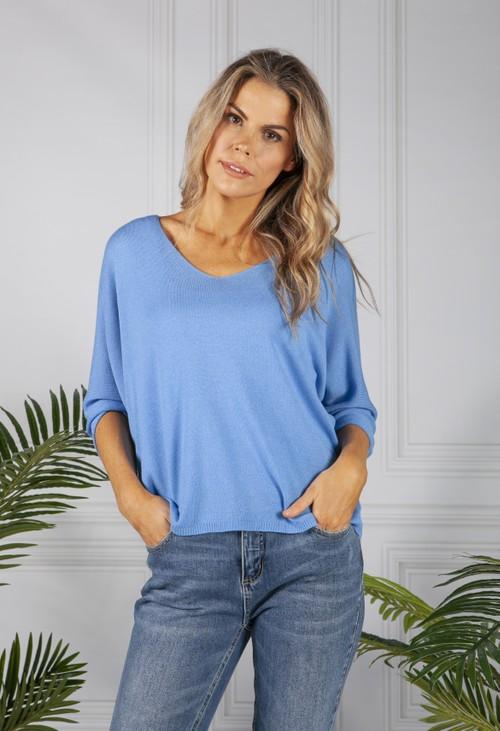 Pamela Scott Oversized Pullover Knit in Blue