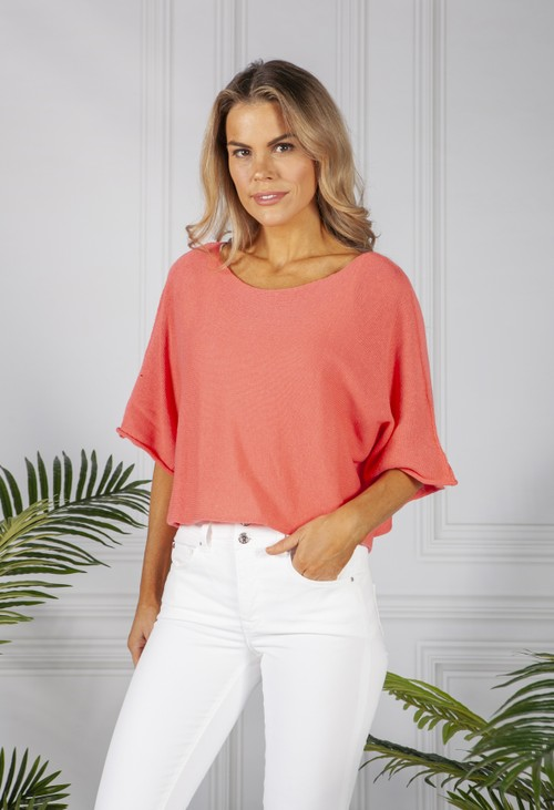 Pamela Scott Coral Lightweight Cropped Knit Pullover
