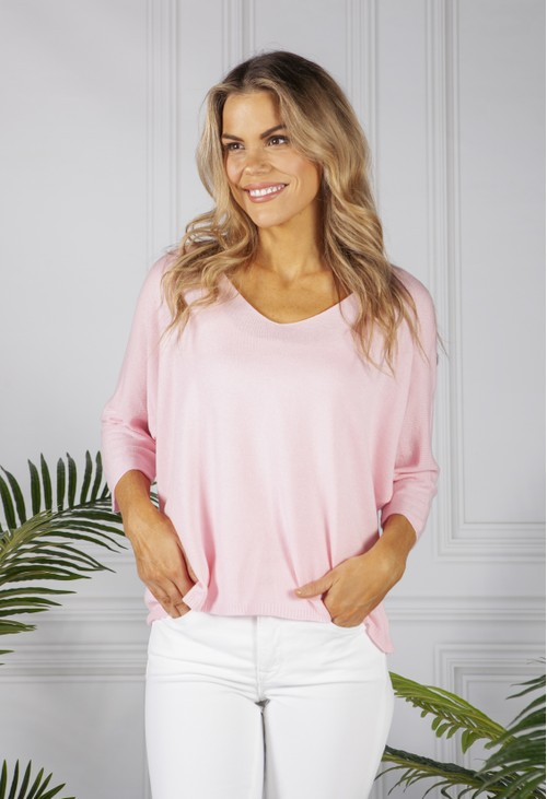 Pamela Scott Oversized Pullover Knit in Rose
