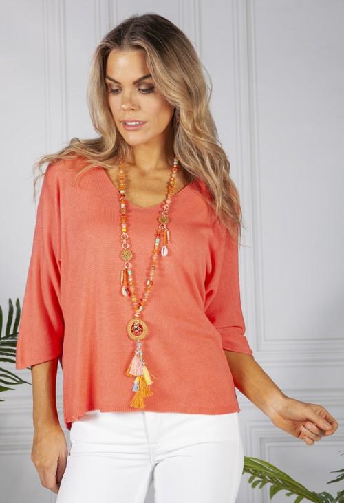 PS Accessories Orange Beaded Necklace