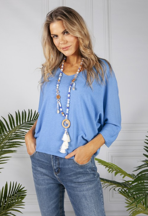 PS Accessories Deep Blue Beaded Necklace