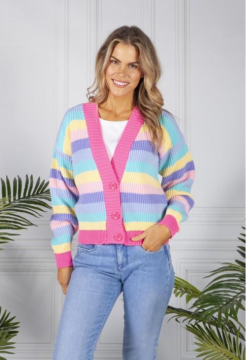 Pamela Scott Pastel Stripe Varsity Knit Cardigan