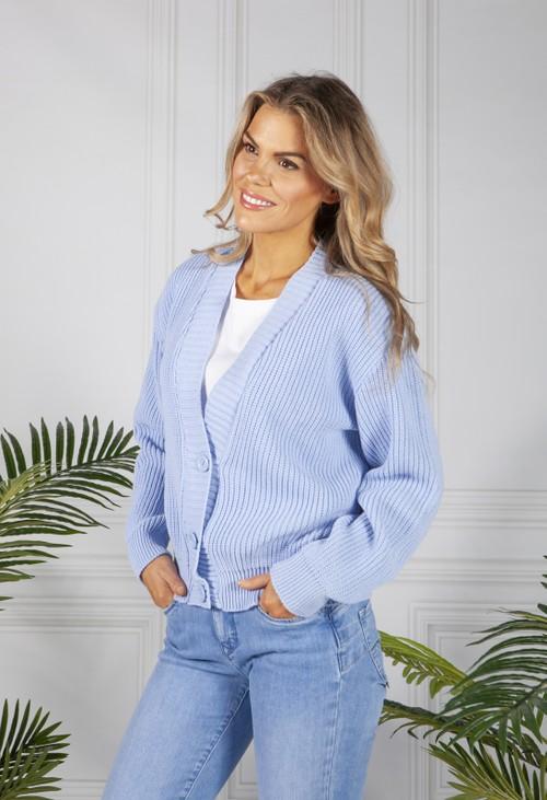 Pamela Scott Periwinkle Blue Knit Cardigan
