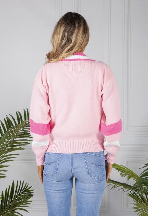 Pamela Scott Rose Pink Varsity Knit Cardigan