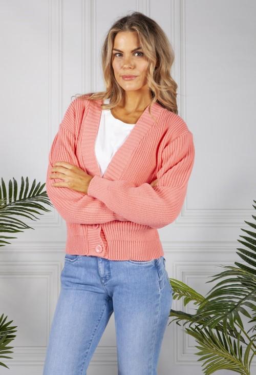 Pamela Scott Coral Varsity Knit Cardigan