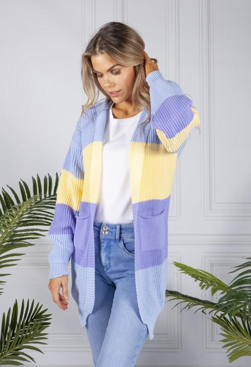 Pamela Scott Blue Colour Block Knit Cardigan