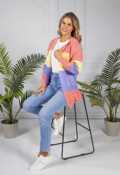 Pamela Scott Ribbed Colour Block Cardigan
