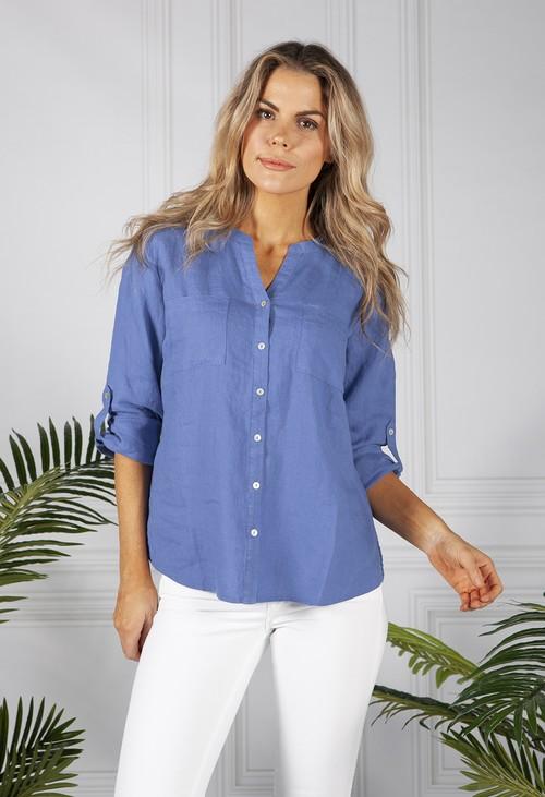Sophie B Royal Blue Linen Shirt
