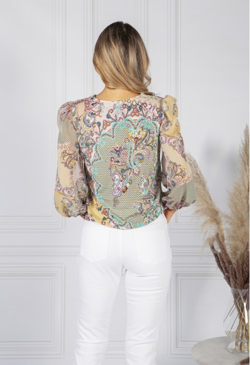 Sophie B Dusted Pink Paisley Print Blouse