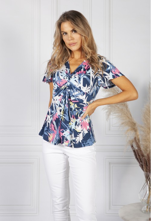 Sophie B Navy Tropical Print Top