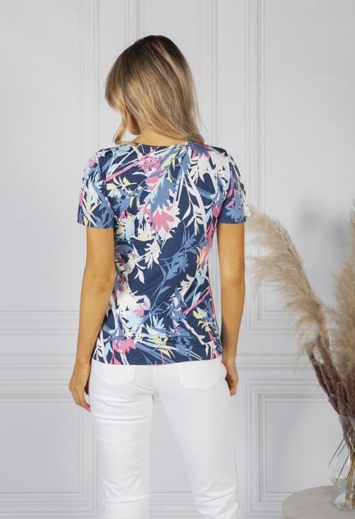 Sophie B Navy Tropical Print Top