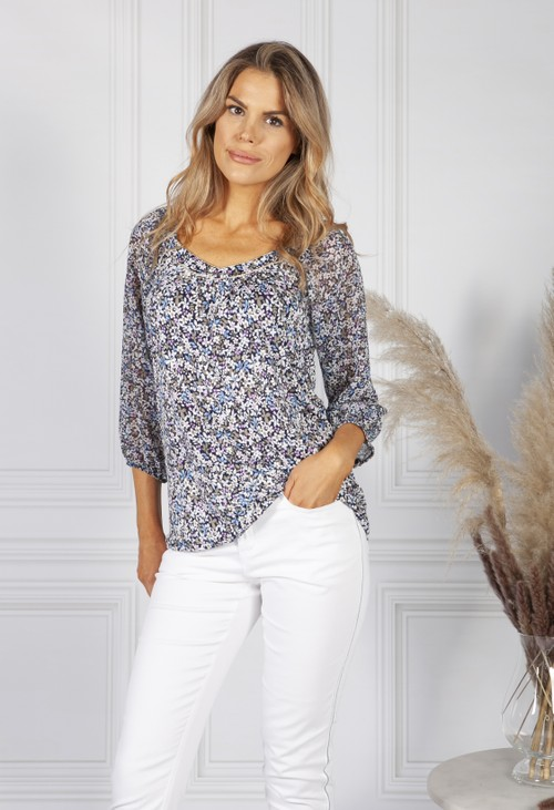 Sophie B navy floral print top with sheer sleeves