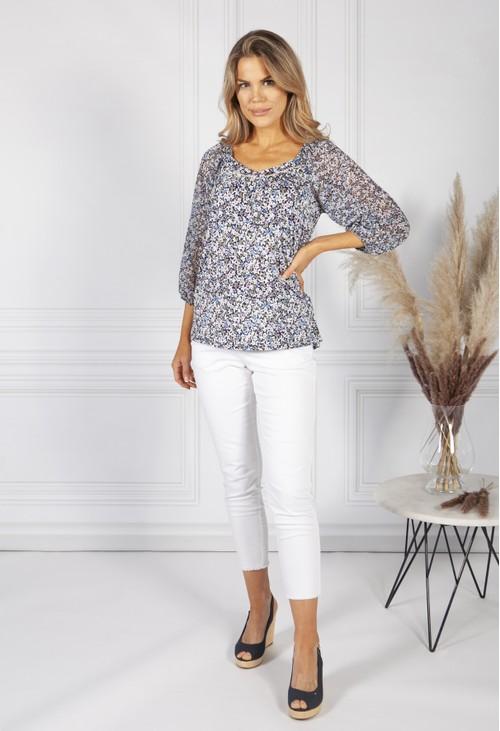 Sophie B navy floral print top with sheer sleeves