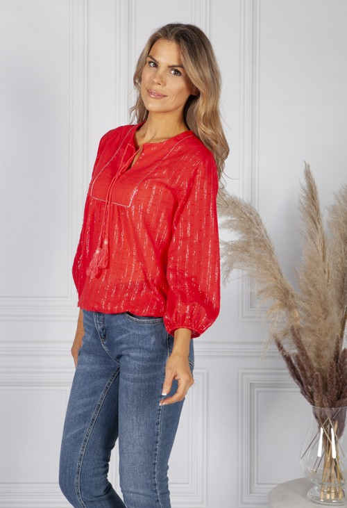 Sophie B Ruby Red Silver Stripe Blouse