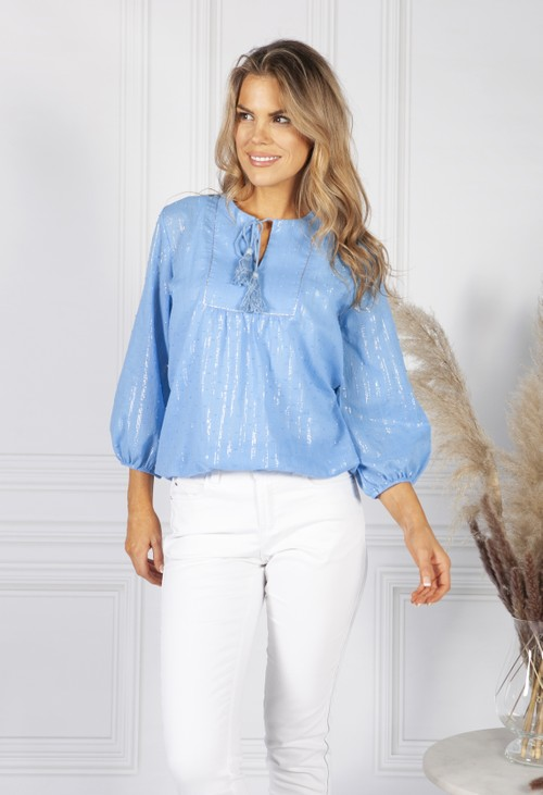 Sophie B Sky Blue Silver Stripe Blouse