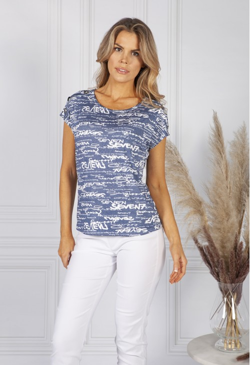 Sophie B Denim Blue Cursive Print Top