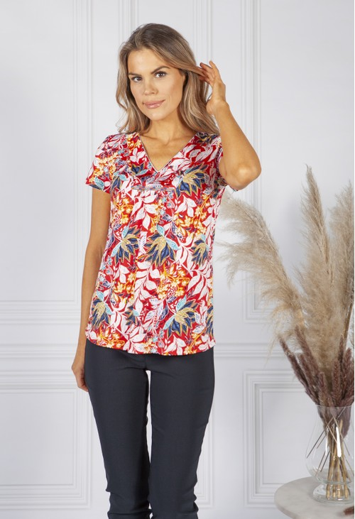 Sophie B Red Breezy Leaf Print Top