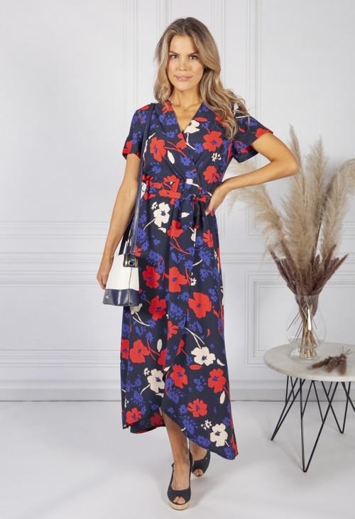Zapara Navy Poppy Print Faux Wrap Dress