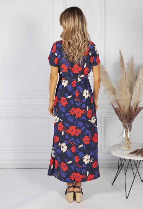 Zapara Navy Poppy Print Faux Wrap Dress