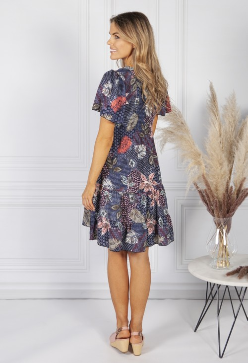 Sophie B Navy Sycamore Print Dress