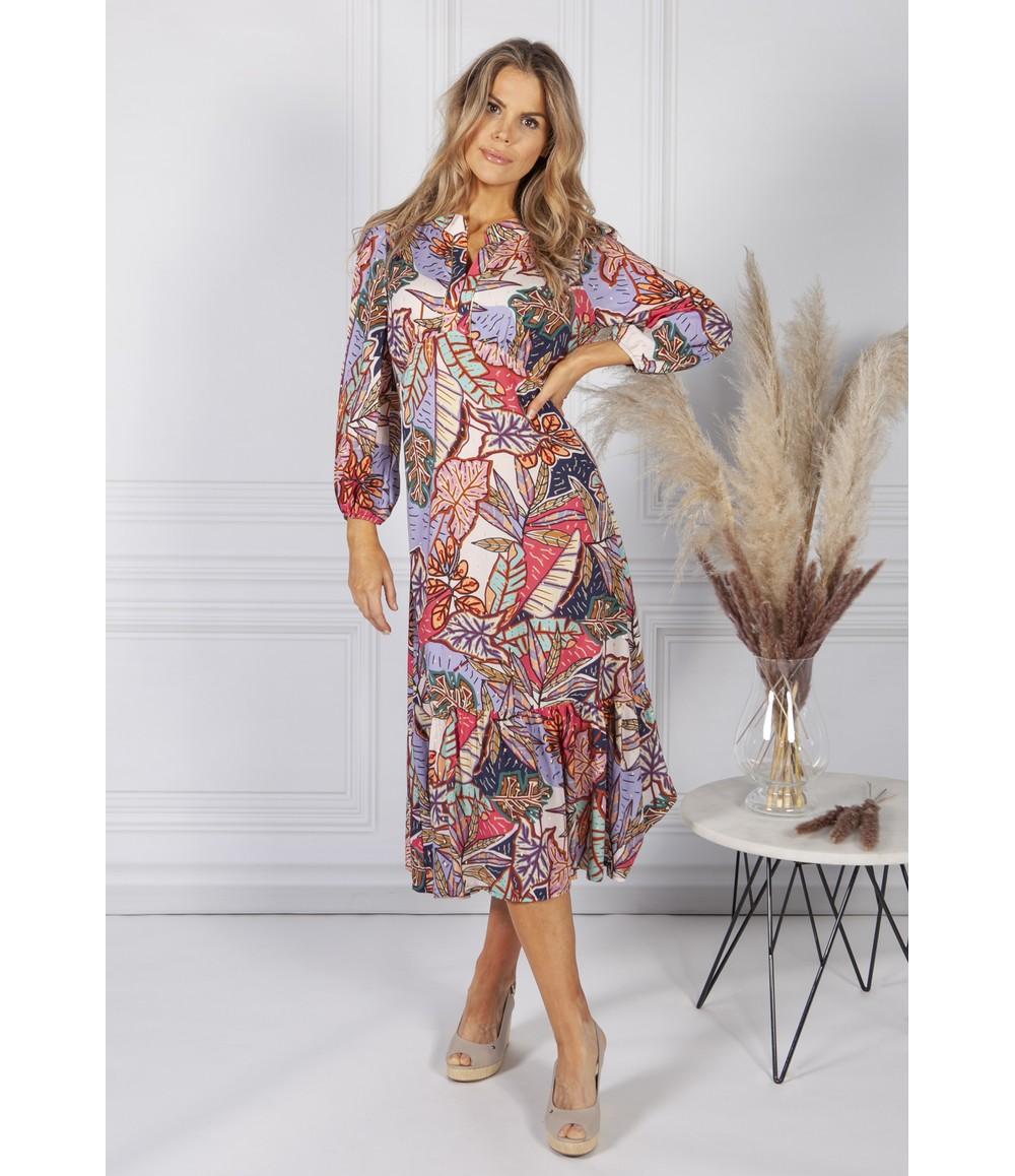 Sophie B Abstract Leaf Print Dress