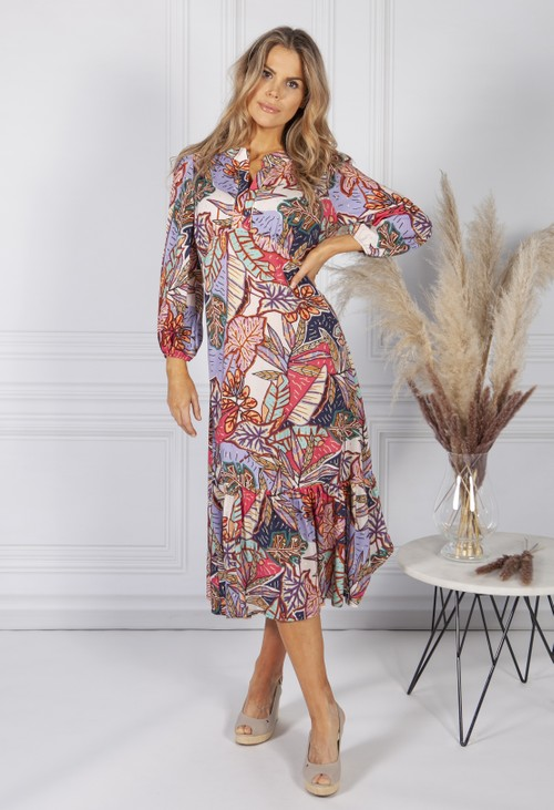 Sophie B Abstract Leaf Print Dress