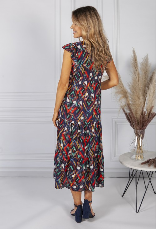 Sophie B Navy Abstract Print Dress