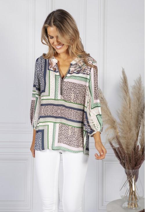 Sophie B Multi Pattern Print Blouse