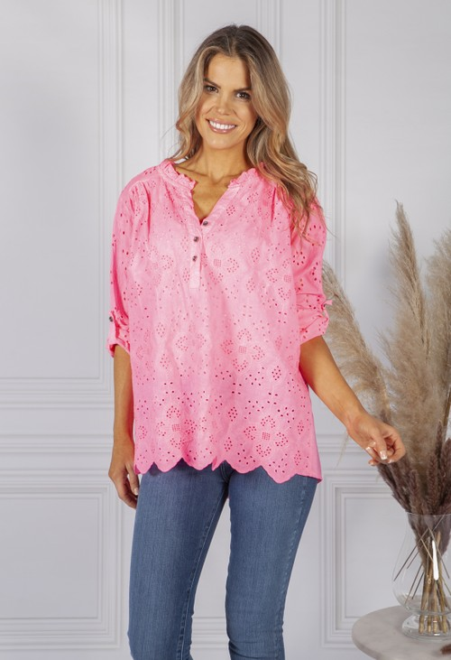Pamela Scott Bright Pink Broderie Anglaise Blouse