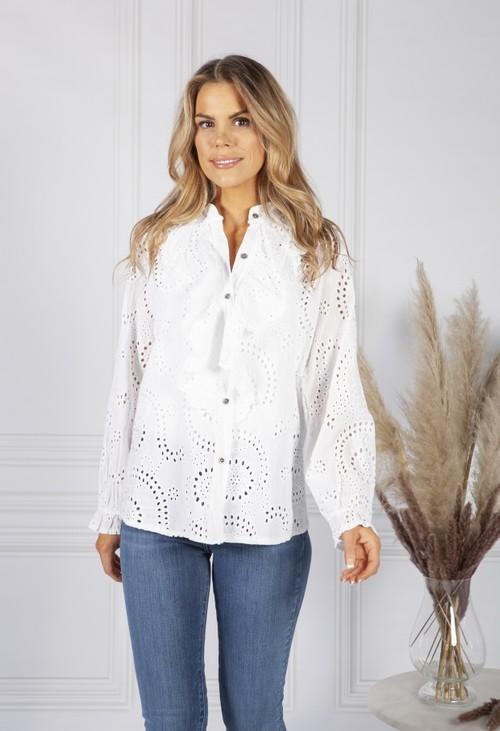 Pamela Scott Ruffle Broderie Anglaise Blouse in White