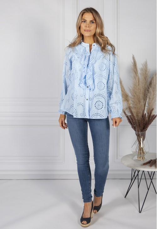 Pamela Scott Ruffle Embroidered Blouse in Sky Blue
