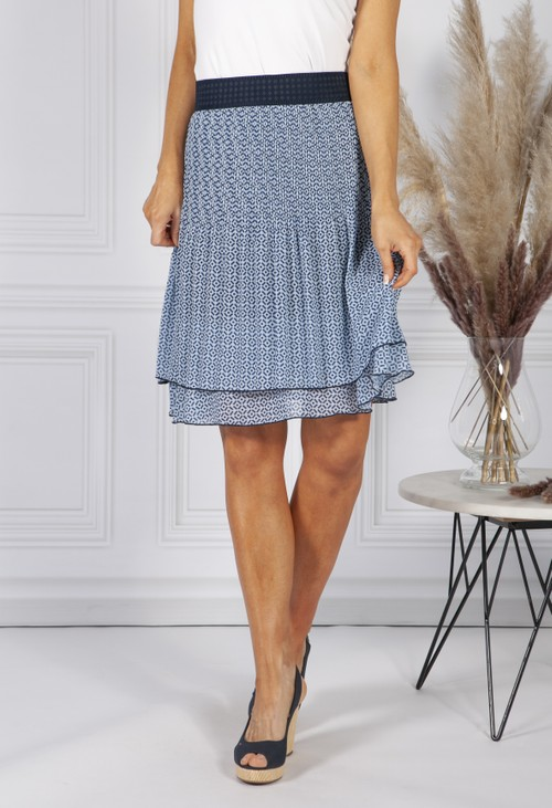 Sophie B Blue Geometric Print Skirt