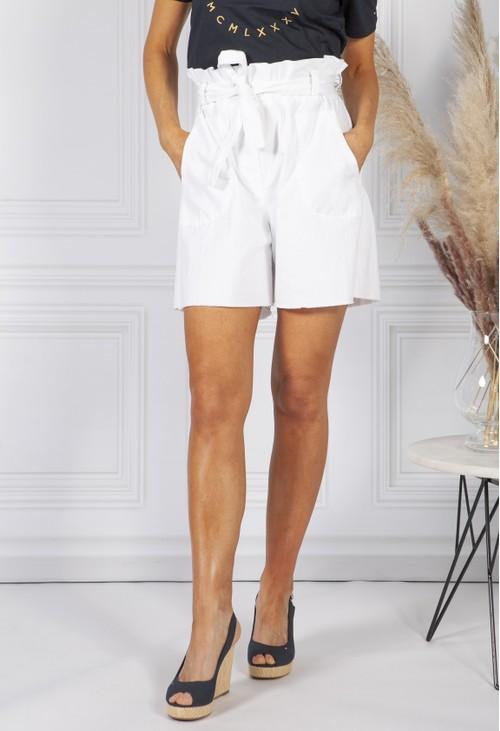 Pamela Scott White paper bag waist shorts