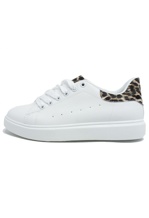 Shoe Lounge White and Leopard Print Trainer
