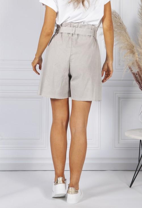 Pamela Scott Stone paper bag waist shorts