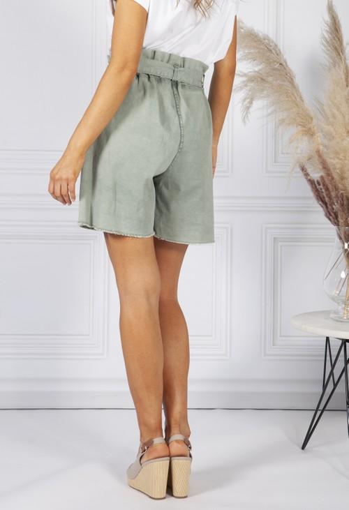 Pamela Scott Green paper bag waist shorts