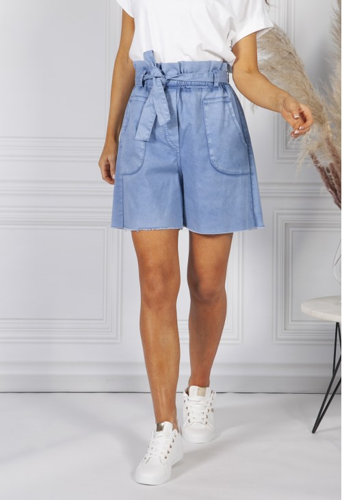 Pamela Scott Cornflower blue paper bag waist shorts