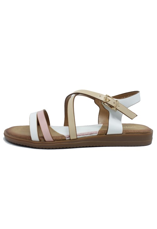 Shoe Lounge White Flat Cross-over Sandal