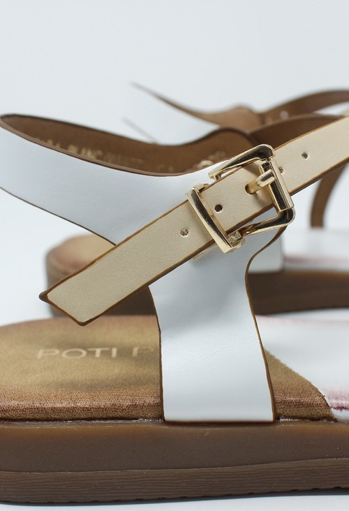 Shoe Lounge White Flat Cross-over Sandal