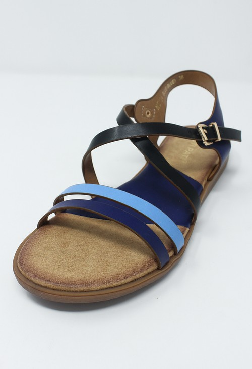 Shoe Lounge Blue Flat Cross-over Sandal