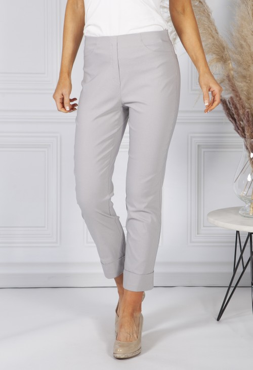 Anna Montana SILVER GREY MAGIC SHAPE CROPPED TURN UP TROUSERS