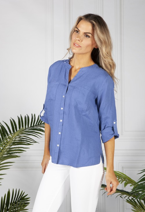 Sophie B Royal Blue Linen Shirt