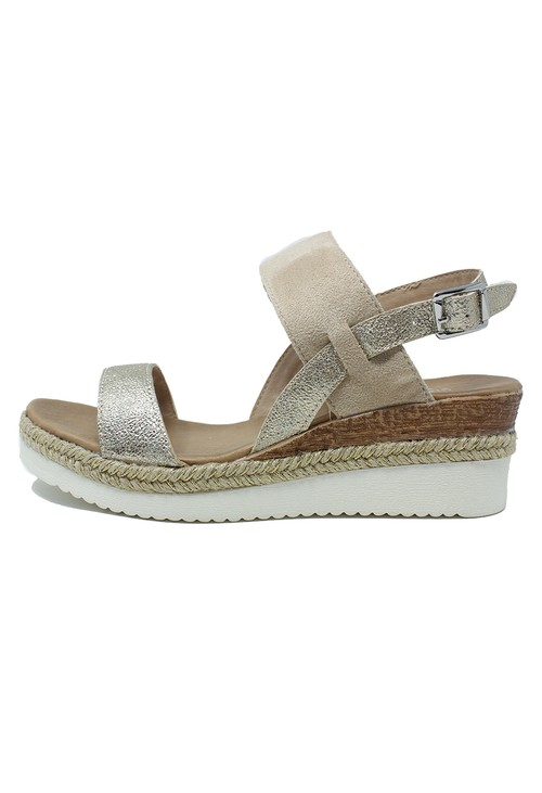 Shoe Lounge Beige Mid Wedge Strap sandal