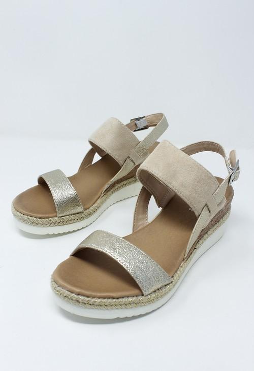 Shoe Lounge Beige Mid Wedge Strap sandal