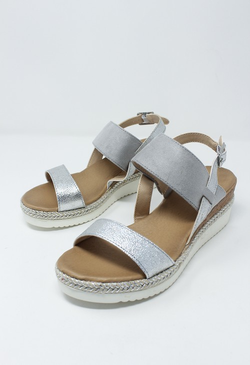 Shoe Lounge Light Grey Mid Wedge Strap Sandal