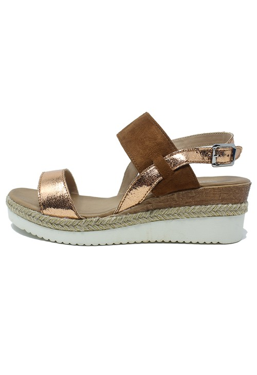 Shoe Lounge Tan Mid Wedge Strap Sandal