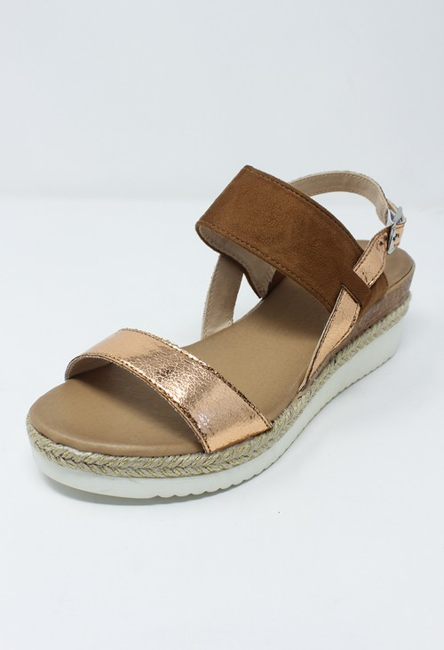 Shoe Lounge Tan Mid Wedge Strap Sandal