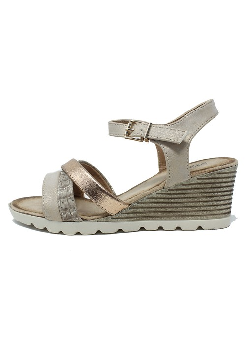Shoe Lounge Beige Mid Wedge Cross Over Strap Sandal