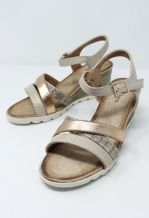 Shoe Lounge Beige Mid Wedge Cross Over Strap Sandal