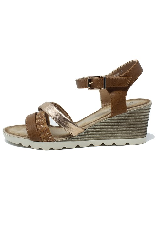 Shoe Lounge Tan Mid Wedge Cross Over Strap Sandal